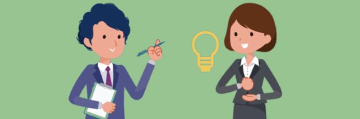 担当キャリアコンサルタントから履歴書の添削や面接対策を受ける女性