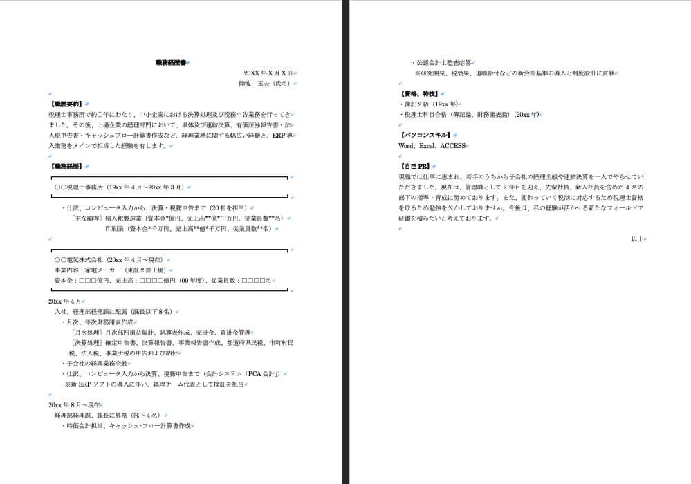 職務経歴書のイメージ